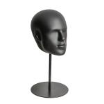Голова мужская черная матовая с имитацией лица, на металлической подставке