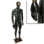 Манекен мужской черный глянцевый с золотыми вставками