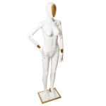 Манекен женский с шарнирными руками белый глянец,с золотыми вставками
