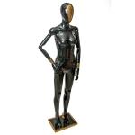 Манекен женский с шарнирными руками черный глянец,с золотыми вставками