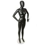 Манекен женский,черный матовый на стеклянной подставке