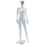 Манекен женский белый глянец с золотым лицом,пластик QJ-03